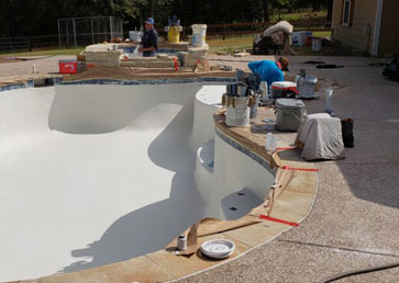 Our pool plaster process photo